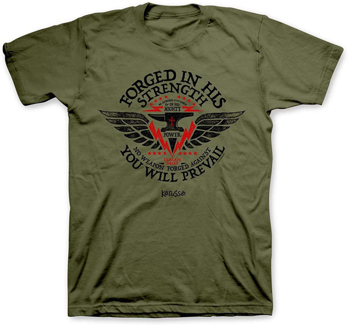 Kerusso Men's Forged In His Strength T-Shirt - Military Green -2X
