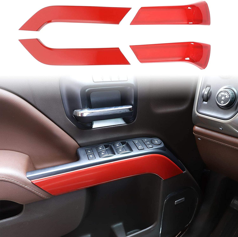 Voodonala for 2014-2018 Chevy Silverado GMC Sierra Inner Door Handle Trim Accessories, ABS Red 4pcs