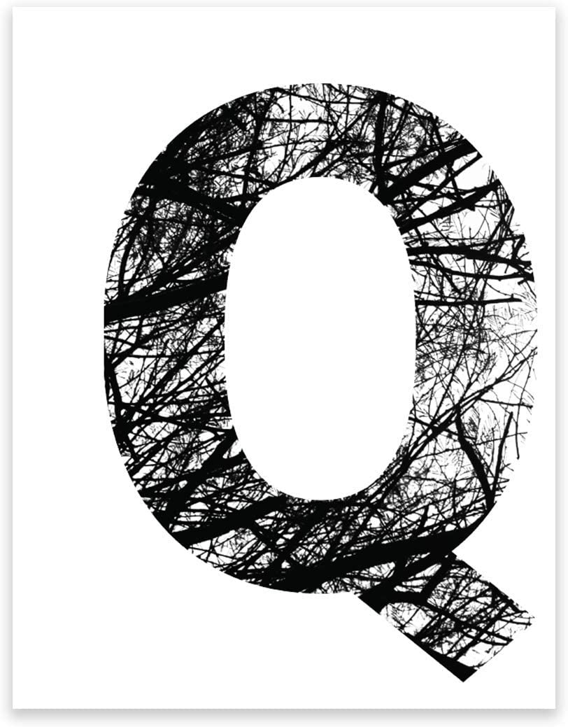 Andaz Press Monogram Wall Art Print Poster, Black and White Tree Branches Nature Photography Collection, Letter Q, 8.5x11-inch Sign, 1-Pack