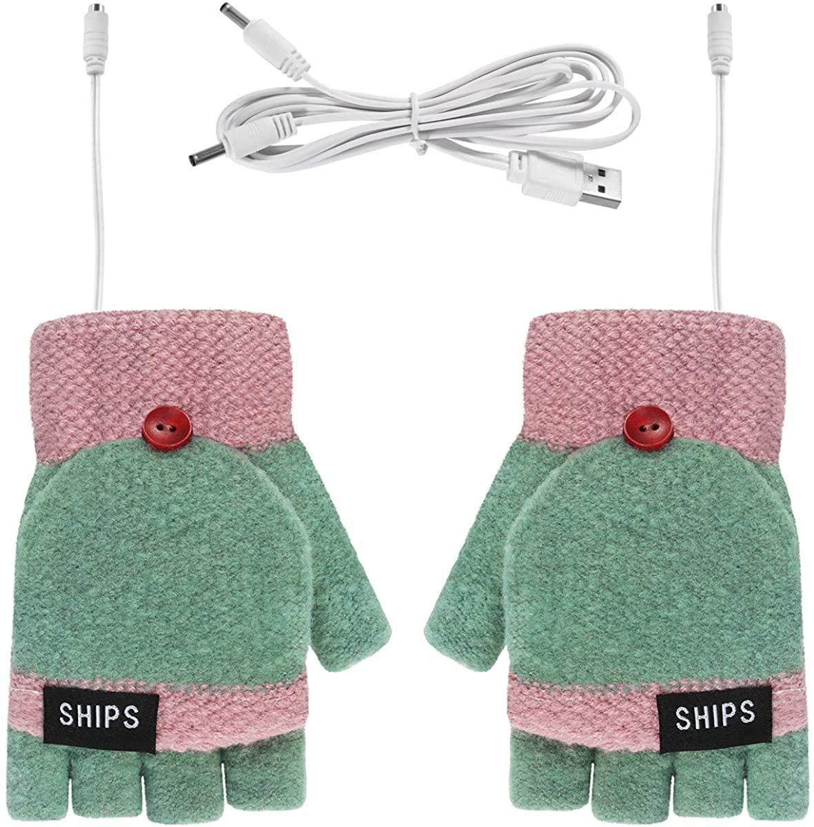 Mens Womens USB Heated Gloves Mitten Fingerless Gloves Winter Computer Gloves