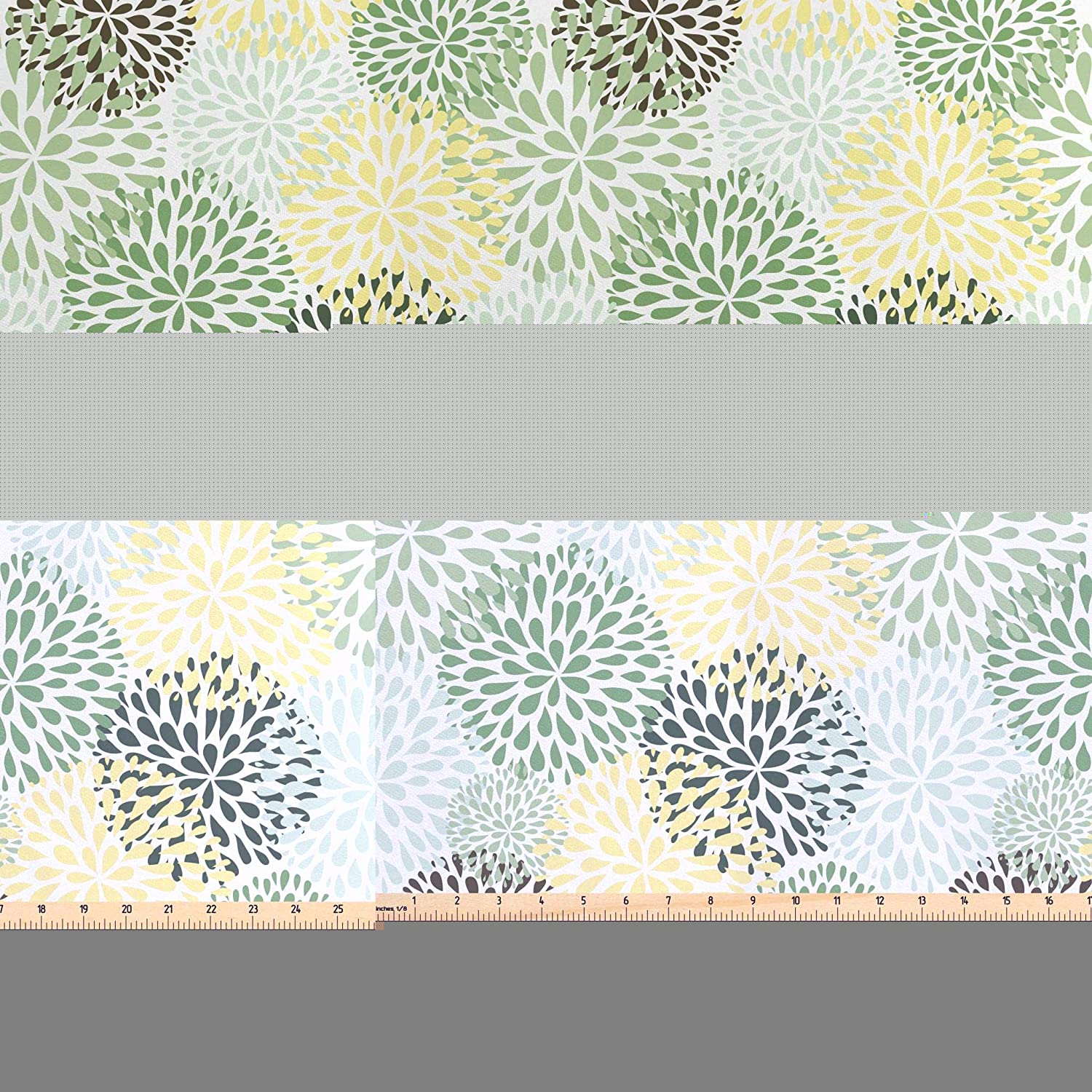 Lunarable Floral Fabric by The Yard, Modern Floral Ornate Petals Flourish Traditional Springtime Garden Leaves, Decorative Satin Fabric for Home Textiles and Crafts, 1 Yard, Green Yellow Brown