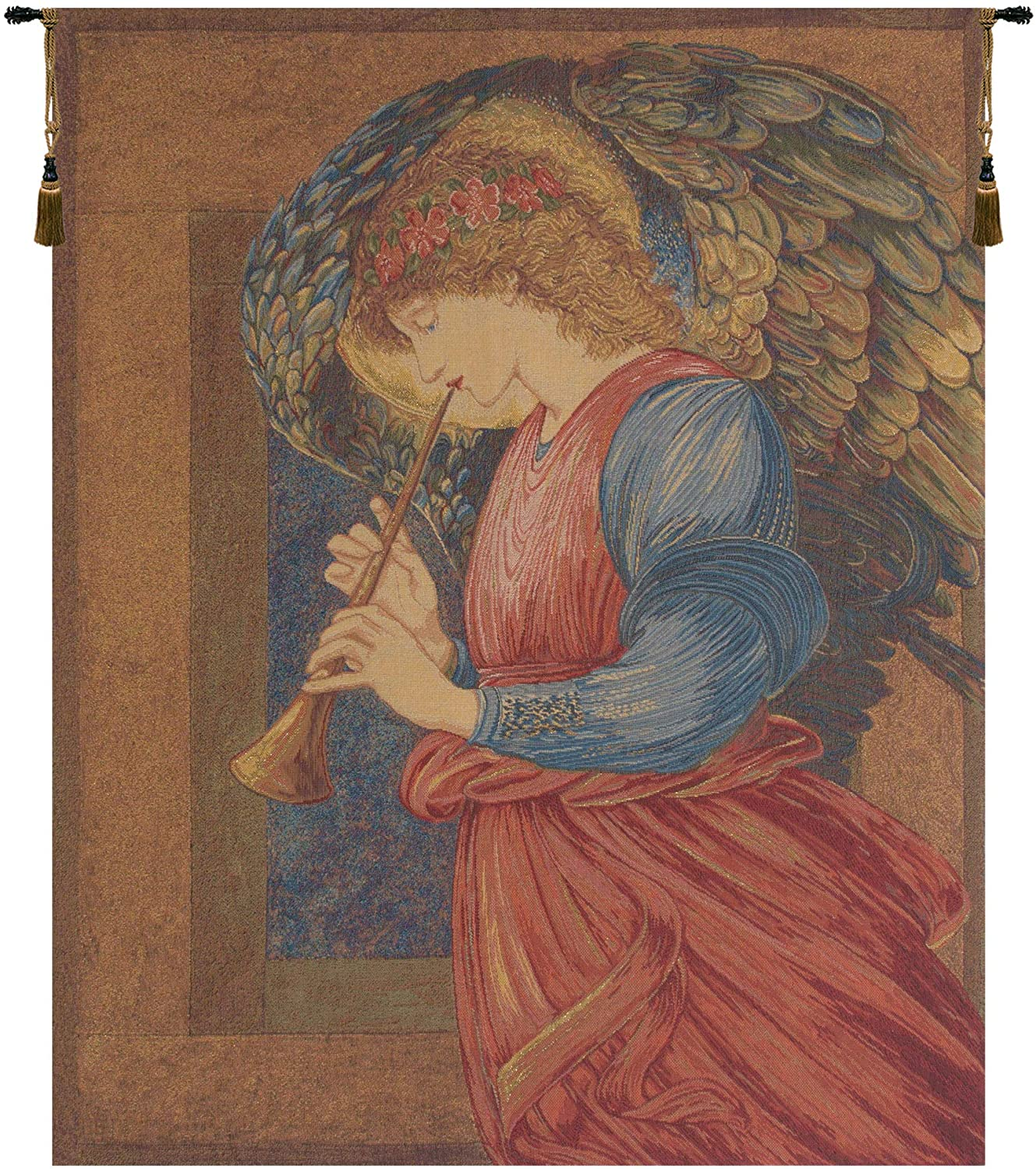 Charlotte Home Furnishings Inc. 'Flageolet Angel By Edward Burne Jones' European Small Tapestry Wall Hanging | Viscose, Cotton and Polyester Blend Wall Art | 18 in. x 24 in. | Home Decor Accents
