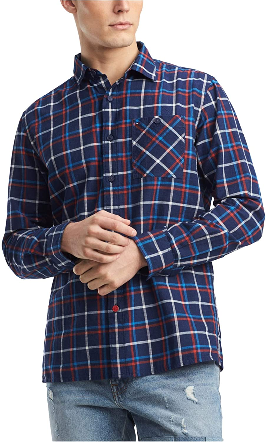 Tommy Hilfiger Mens Windowpane Plaid Button Up Shirt