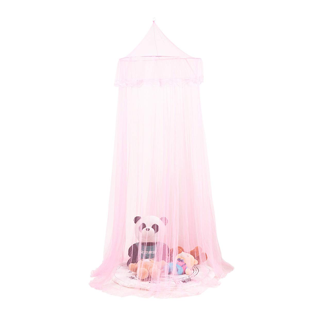 Yunnyp Dome Insect Net Tent Ceiling Princess Bed Curtain,Bed Canopy Lace Netting Mesh Drape Cover for Princess Bedding