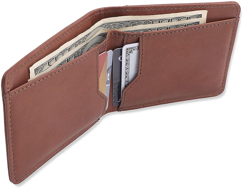 Allonsi RFID Mens Leather Bifold Wallet   Handmade Leather Wallets for Men