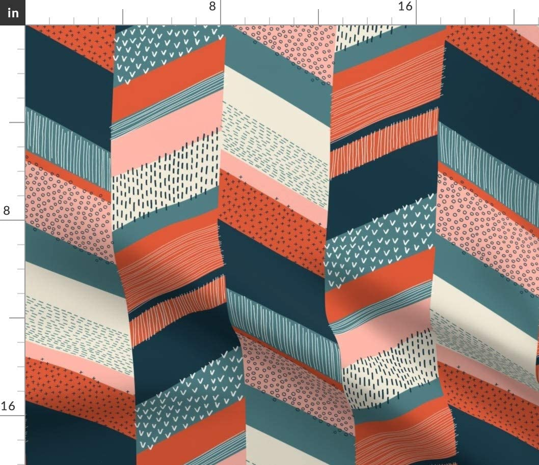 Spoonflower Fabric - Chevron Orange Persian Green Blue Bold Colors Geometric Printed on Petal Signature Cotton Fabric by The Yard - Sewing Quilting Apparel Crafts Decor
