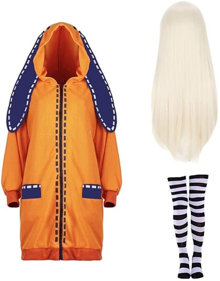 Anime Kakegurui Twin Yomoduki Runa Uniform Cosplay Costumes Jabami Yumeko Women Stage Party Girl Pleated Skirt Cosplay,Kakegurui Jabami Yumeko Costumes Yomoduki Runa OrangeRabbit Long Coat + Wig
