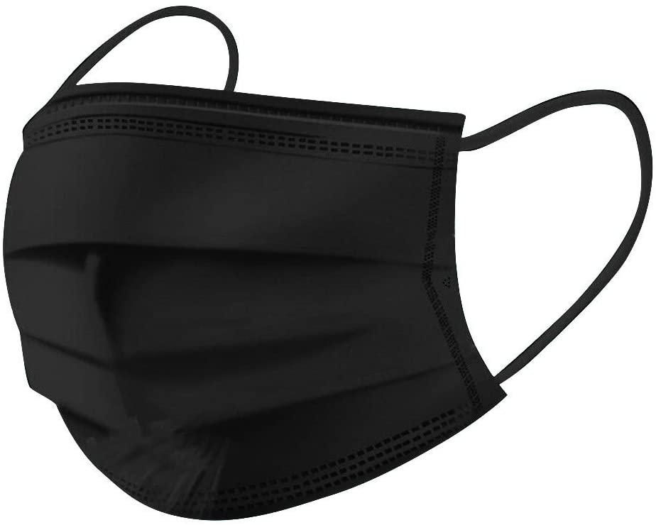 MASZONE 50pcs Disposable Face Masks, 3-Ply Facial Cover Masks with Elastic Earloop, Black