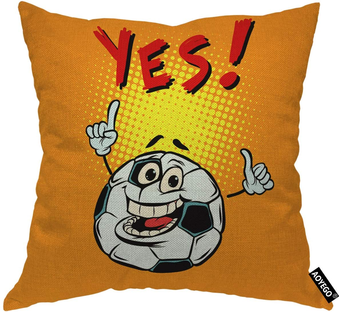 AOYEGO Football Throw Pillow Covers Cute Happy Smile Soccer Ball with Word Yes Doodle Polka Dot Pillow Cases 20x20 Inch Decorative Cushion Cotton Linen for Couch Chair Bedroom Orange