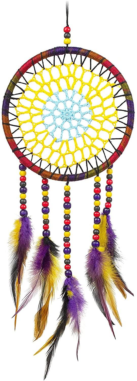 MiRundel Dream Catcher Wall Decor – Purple & Yellow Feather Handmade Dreamcatcher for Bedroom, Hanging Decorations - Boho Dream Catchers for Babies Girls Boys Kids Room