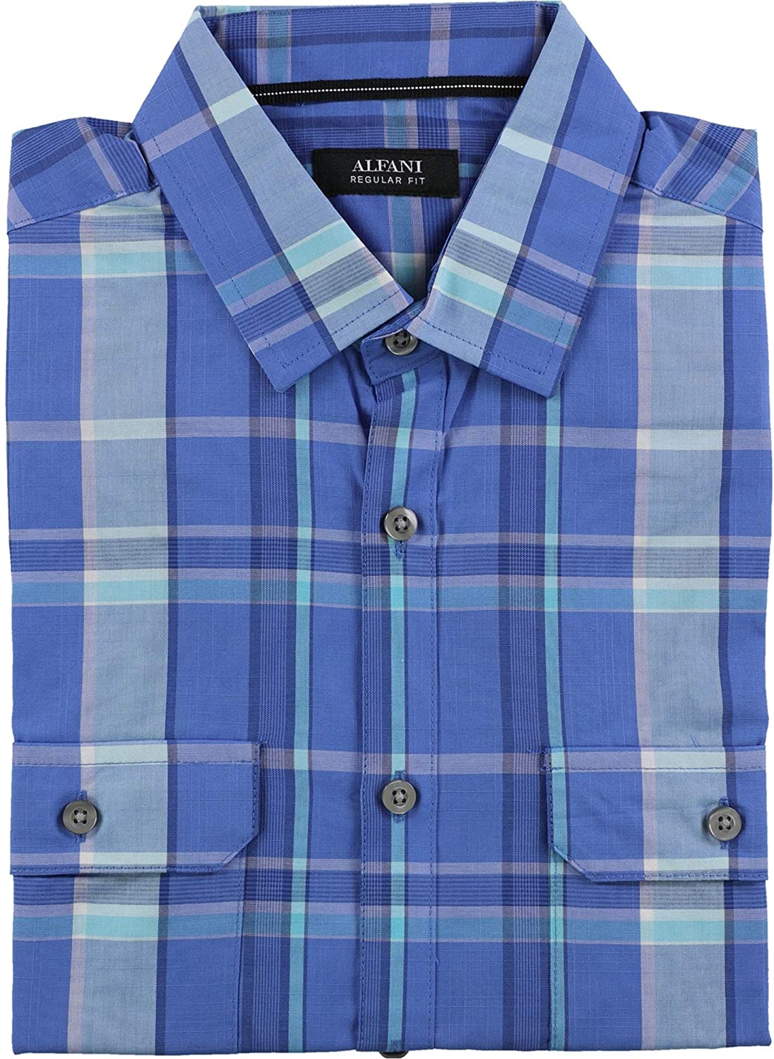 Alfani Mens Ss Plaid Button Up Shirt