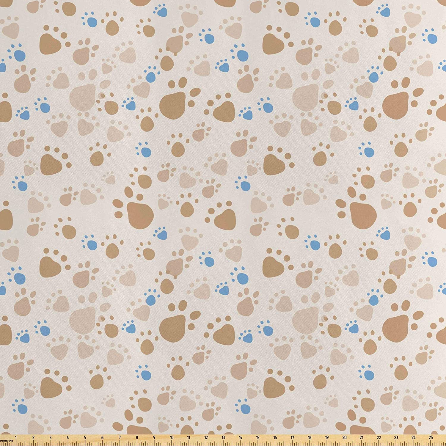 Lunarable Cream Fabric by The Yard, Pattern with Animal Footprints Paws Domestic Pets Dogs and Cats Wildlife Walk, Decorative Satin Fabric for Home Textiles and Crafts, 3 Yards, Tan Blue