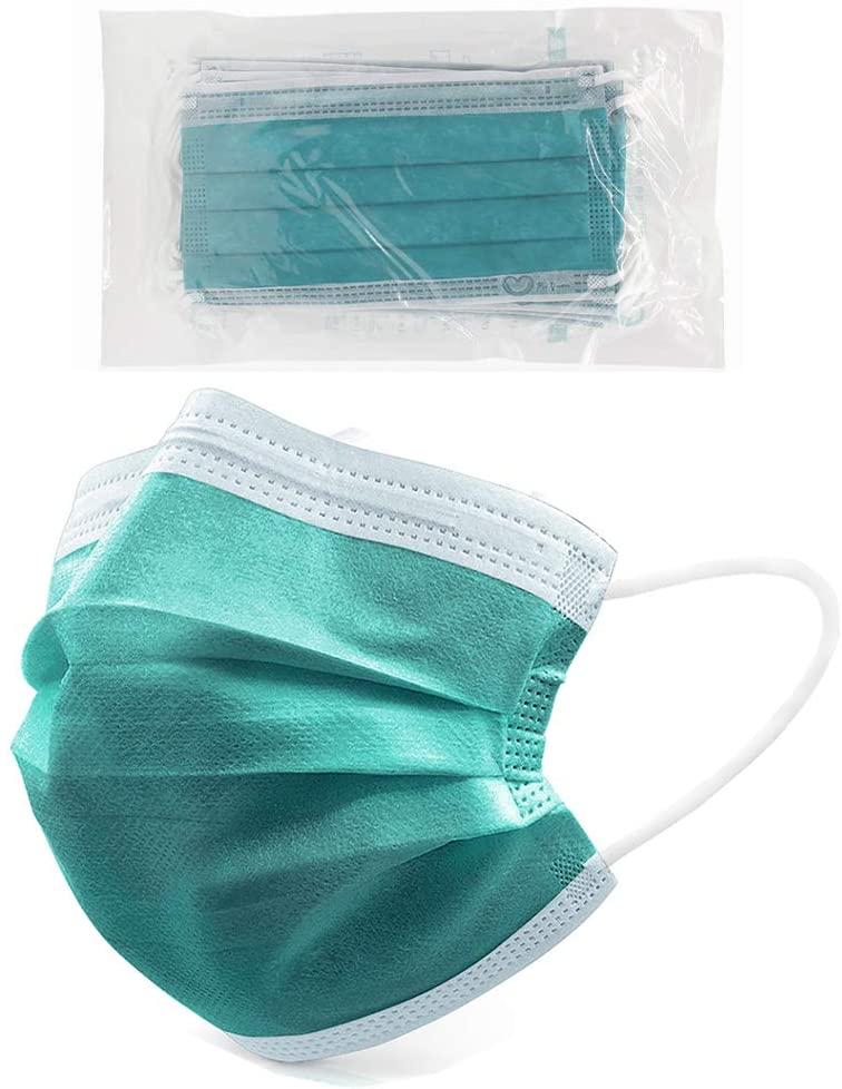 4 Ply Disposable Face Mask Protective(10PCS), Elastic Earloops, Single Use- Green