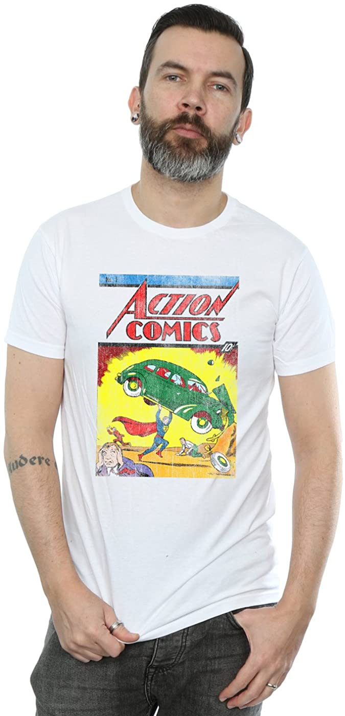 DC Comics Men's Superman Action Comics Issue 1 Cover T-Shirt White Medium