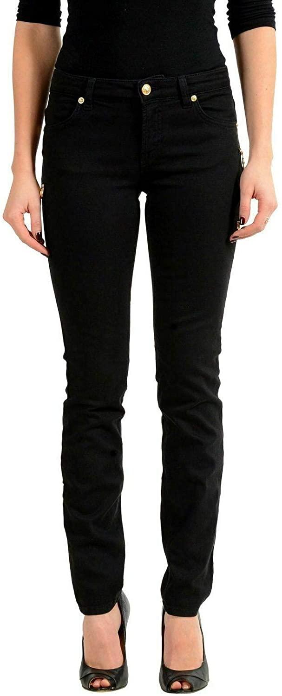 Versace Versus Black Pins Decorated Slim Fit Women's Jeans Sz US 9 IT 31