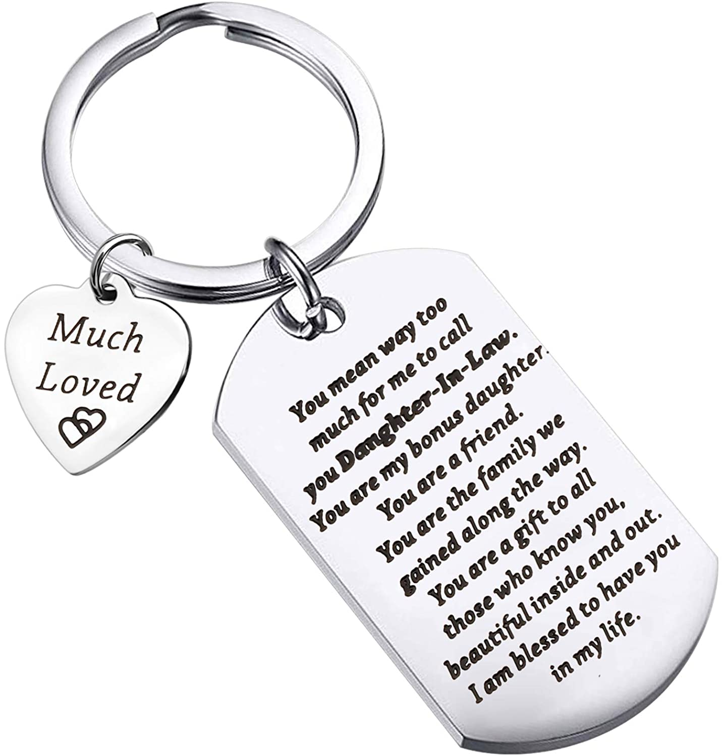 WSNANG to My Daughter-in-Law Keychain Because of The Love You Brought to Our Son Gift Daughter-in-Law Jewelry from Mother in Law/Father in Law