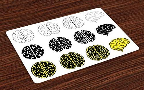 Lunarable Science Place Mats Set of 4, Human Brains Doodle Style Organ Anatomy Theme, Washable Fabric Placemats for Dining Room Kitchen Table Decor, Yellow Black and White