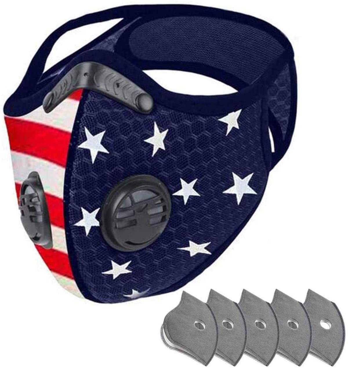 Face Bandanas with Breathing Valve, American Flag Print Face Covering, Outdoor Sports Mouth Mas Protection (1pc, Black A) (Free Size, 1pc Blue),Blue with 5PC Filter,Free Size