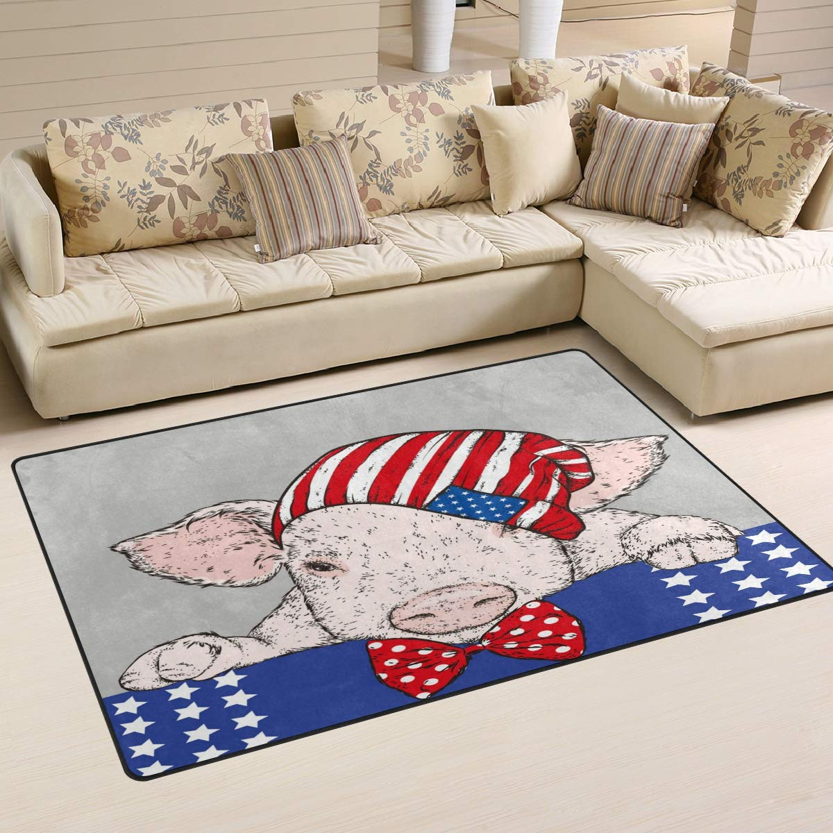 ALAZA Home Decor Funny Pig in The Hat Area Rug Carpet, Rugs Floor Carpet Mat Living Room Carpet for Girl's Room Home Indoor Decor 3'x5'