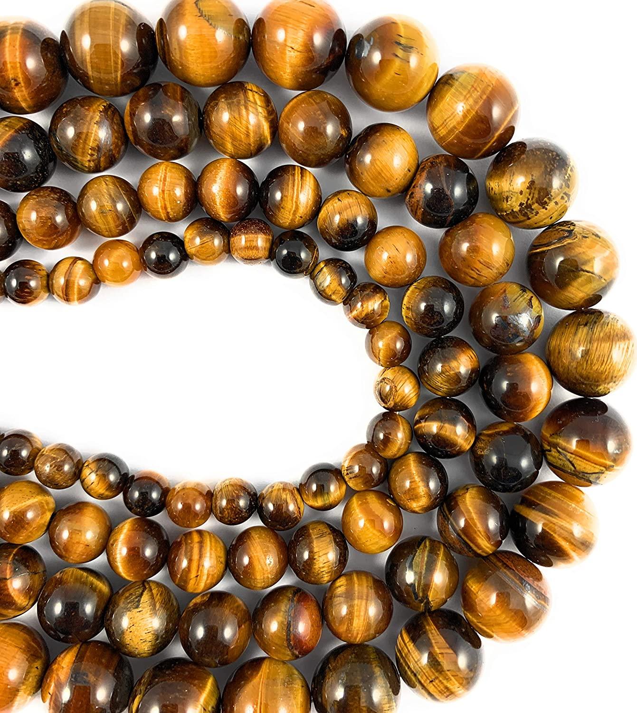 Beadalgo - 6 mm Natural Yellow Tiger Eye Gemstone Round Beads for Jewelry Making - 15.5 inch Strand.