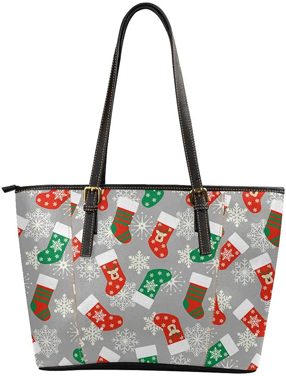 INTERESTPRINT Christmas Presents with Gift Card and Santa Hat Purses and Handbags for Women Satchel Shoulder Tote Bags