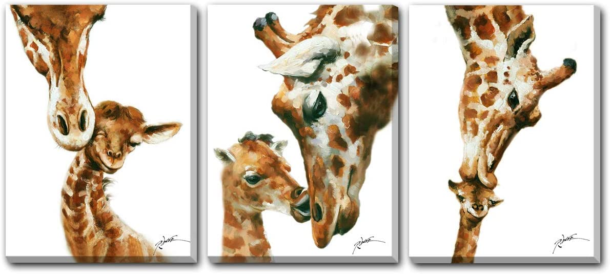 Hongwu Animal Wall Art Giraffe Painting Canvas Prints Modern Artwork Giraffe Pictures for Wall Stretched and Framed Ready to Hang 12x16inchx3panels