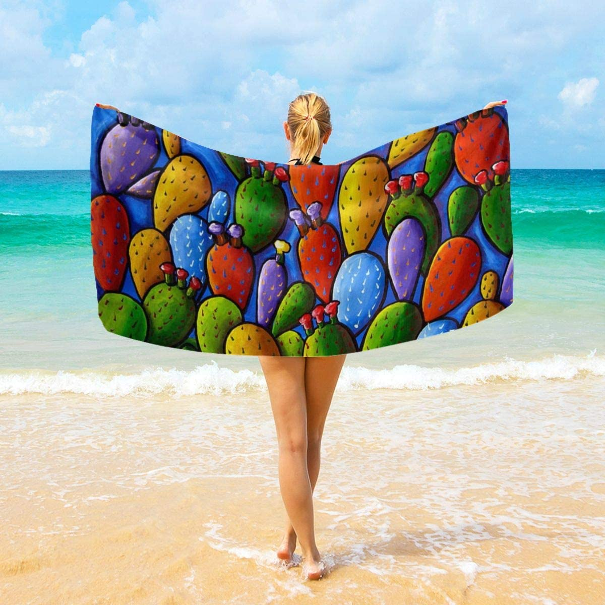 Befectar Wilder California Prickly Pear Colorful Cactus Towels for Bathroom Hotel Gym and Spa Beach Blankets for Couch (32x52 Inches 40x70 Inches)