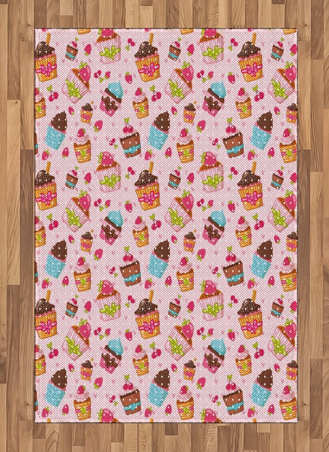 Ambesonne Pink Area Rug, Kitchen Cupcakes Muffins Strawberries and Cherries Food Eating Sweets Print, Flat Woven Accent Rug for Living Room Bedroom Dining Room, 4' X 5.7', Pale Pink and Brown