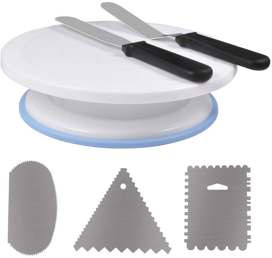 11 Inch Rotating Cake Turntable with 2 Icing Spatula and 3 Scapers for Home/Dessert Store