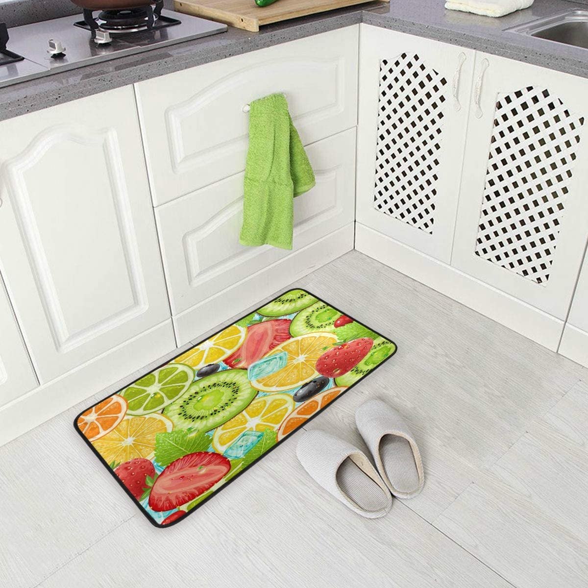 ALAZA Summer Holiday Fruit Strawberry Non Slip Kitchen Floor Mat Kitchen Rug for Entryway Hallway Bathroom Living Room Bedroom 39 x 20 inches(1.7' x 3.3')