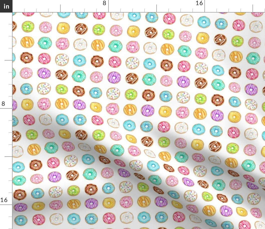 Spoonflower Fabric - Donuts Treats Colourful Food Printed on Cotton Poplin Fabric by The Yard - Sewing Shirting Quilting Dresses Apparel Crafts