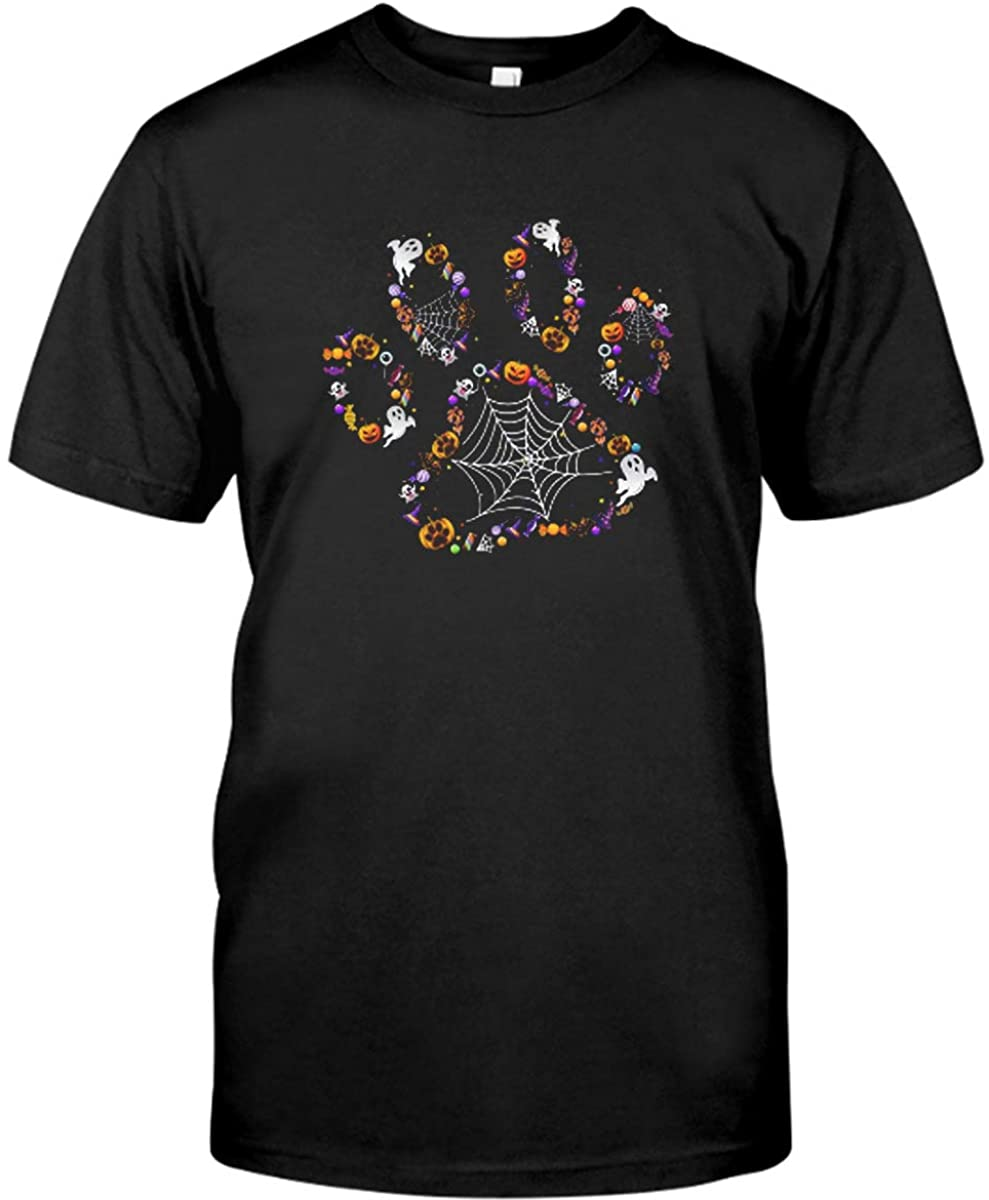 Halloween Dog Paw-Print-Pet-Dog-Lovers Halloween Costume Shirt Black