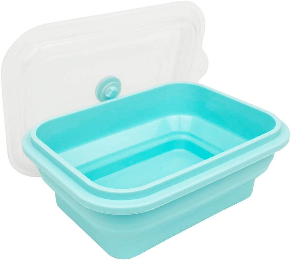 CARTINTS Microwave and Oven Safe 100% Silicone Food Storage Containers Collapsible Bowls with lids, For Travel, Camping or Baking, (800ml, Blue, 1 Pack)
