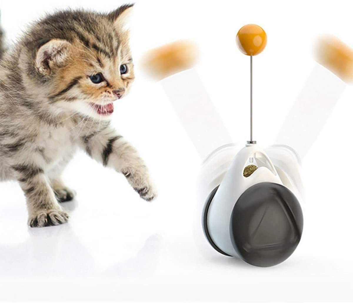 Cat Toys for Indoor Cats Interactive Roller Cat Toy with Catnip Feather Ball Balance Cat Chasing Toy for Kitten Exercise Puzzle Toys