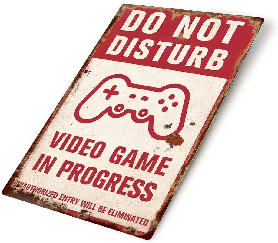 Putuo Decor Do Not Disturb Video Game in Progress Vintage Metal Sign,8