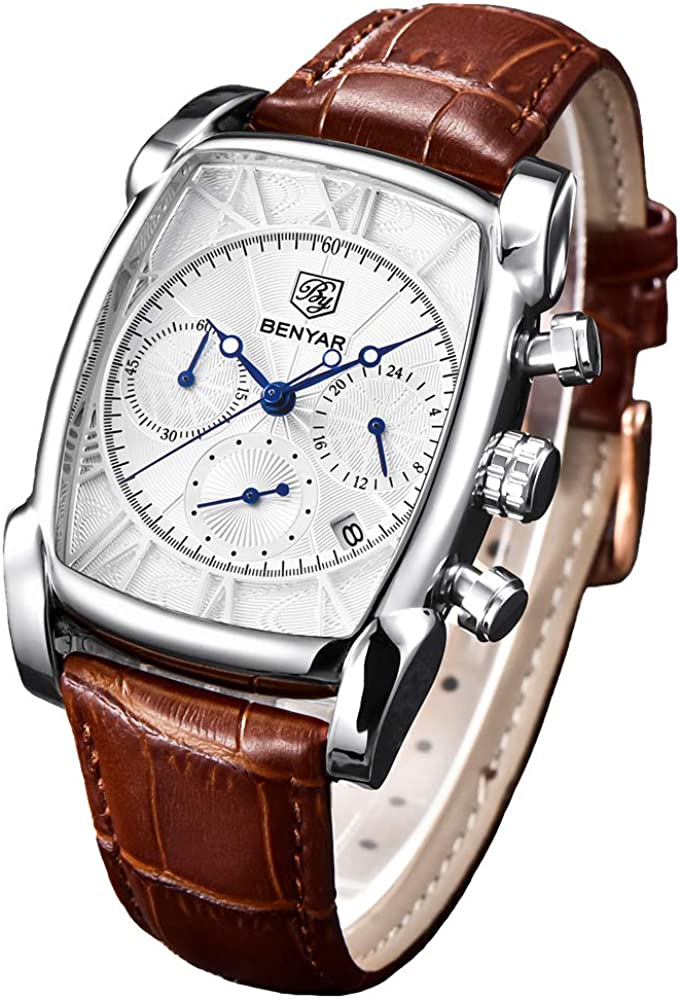 Mens Classic Square Chronograph Watches for Men Waterproof Retro Rectangle Wrist Watch with Brown Leather Band and Gold Case