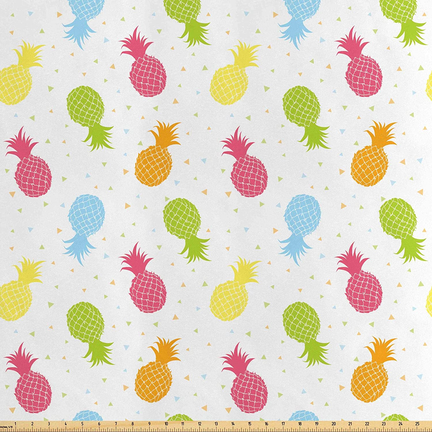 Lunarable Pineapple Fabric by The Yard, Colorful Pineapples Spring Refreshment Cheering Design Illustration, Decorative Satin Fabric for Home Textiles and Crafts, 3 Yards, Multicolor