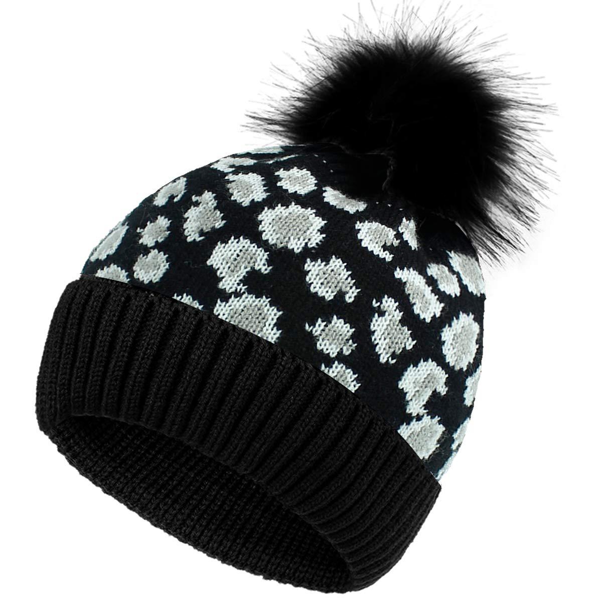 HelloCreate Women Knit Hat, Warm Soft Knit Hat Leopard Print Fashion Winter Pompom Ball Hat