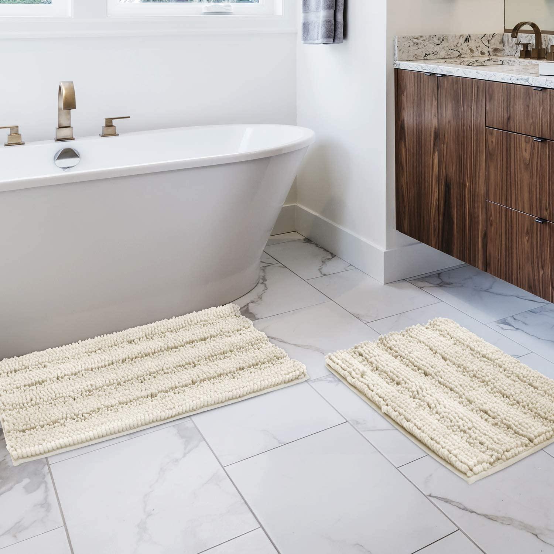BYSURE Ivory White Bathroom Rug Set Extra Absorbent Shaggy Bathroom Rugs and Mats Sets 2 Piece, Ultra Soft Bathroom Rugs Set Non Slip Bath Rugs for Bathroom, Shower Carpet Bath Mat Set 2 Piece