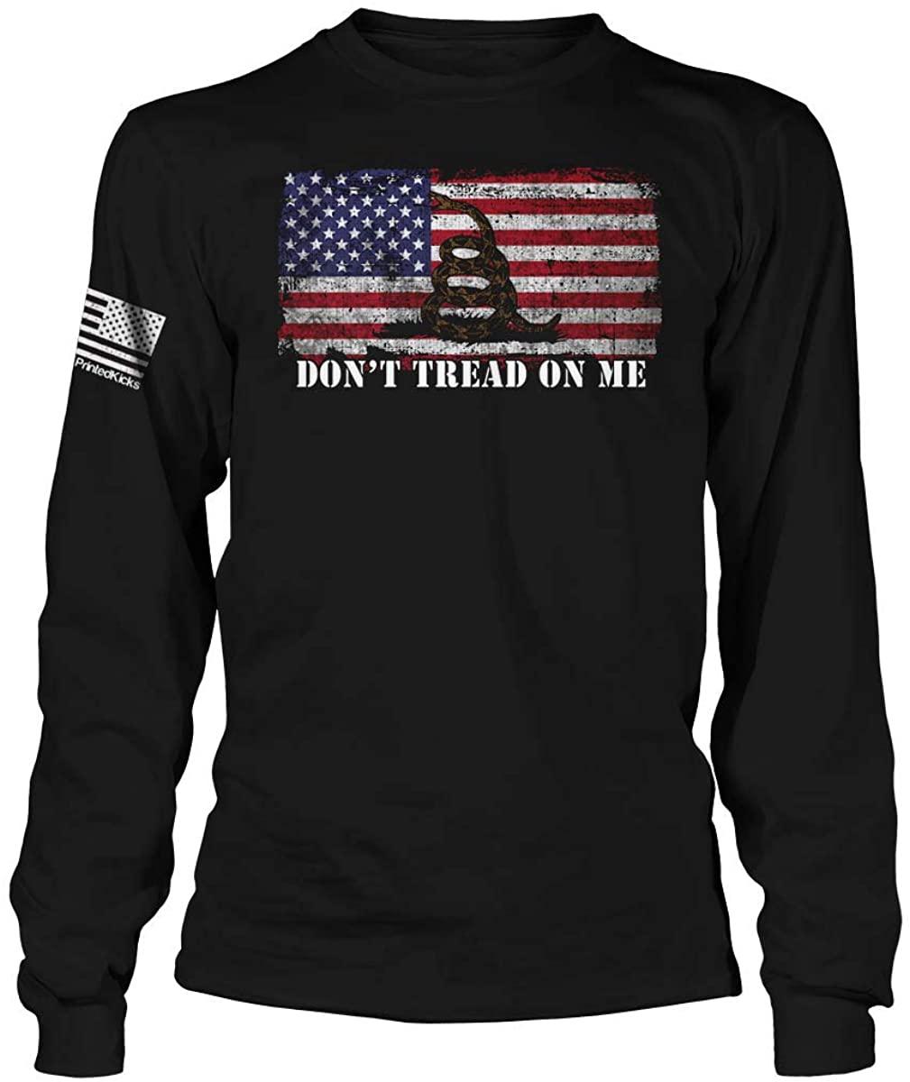Printed Kicks Don't Tread On Me Flag Long Sleeve T-Shirt Gadsden USA DTOM Shirt