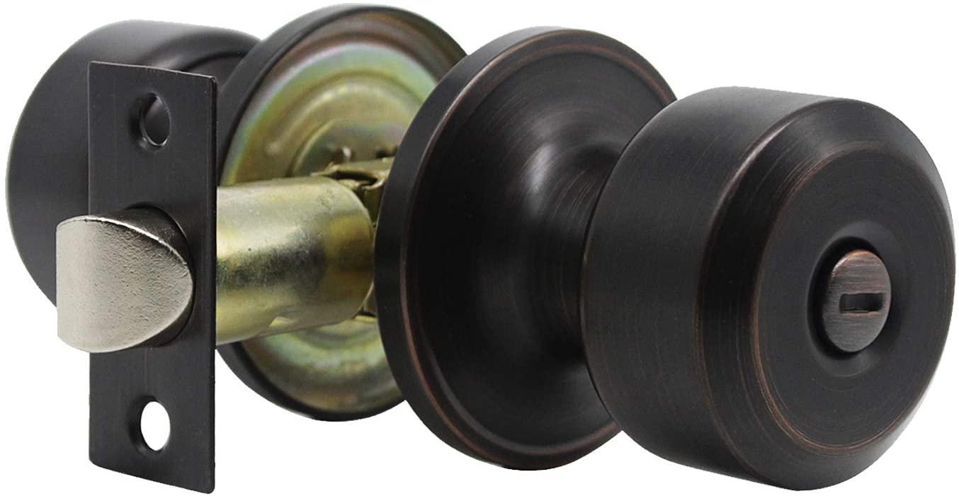 6 Pack Oil Rubbed Bronze Door Knob Privacy Locking Door Knob, Bedroom Door Knobs with Lock Bathroom Door Knob, Bronze Door Knobs Interior Use