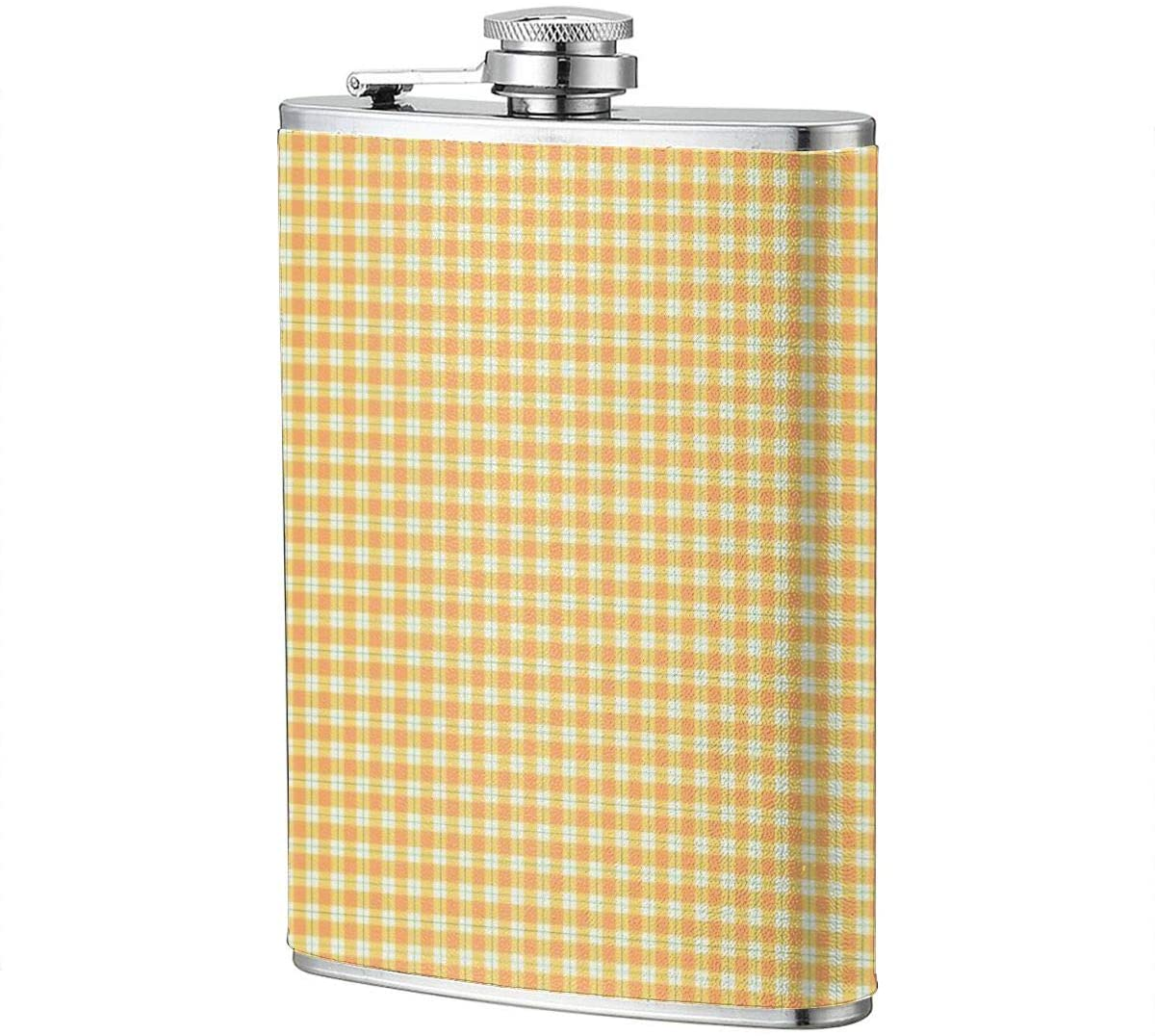 Orange European Plaid Portable 8 Oz Stainless Steel Leak-Proof Hip Flask For Whiskey With Leather Wrap Travel Camping Wine Pot Flagon For Men Women