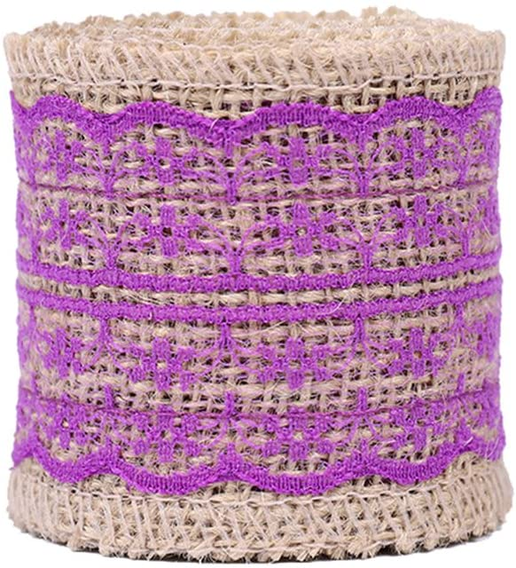 USIX 10 Yards Natrual Jute 2.36 Inch Burlap Ribbon Roll with Color Lace for Arts Crafts DIY Gift Packing Flower Wrap Wedding Birthday Baby Shower Decoration (D4-16 Purple)