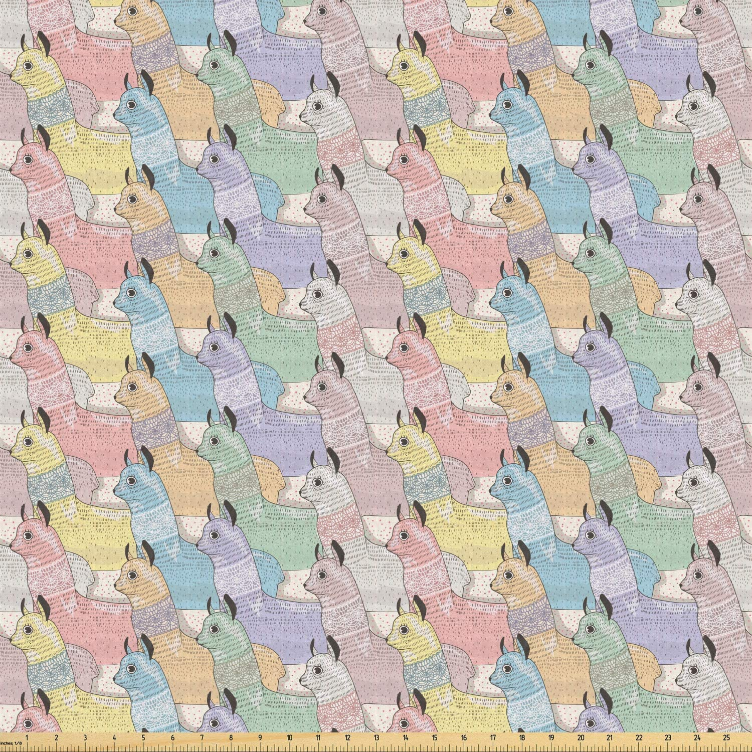 Ambesonne Teen Room Fabric by The Yard, Little Alpacas Pattern Soft Toned Camel Animal Kids Nursery Folkloric Print, Stretch Knit Fabric for Clothing Sewing and Arts Crafts, Multicolor