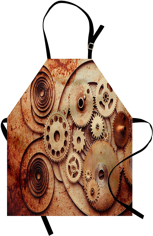 Ambesonne Vintage Apron, Mechanical Clocks Details Old Rusty Look Backdrop Gears Steampunk Design, Unisex Kitchen Bib Apron with Adjustable Neck for Cooking Baking Gardening, Dark Orange Beige