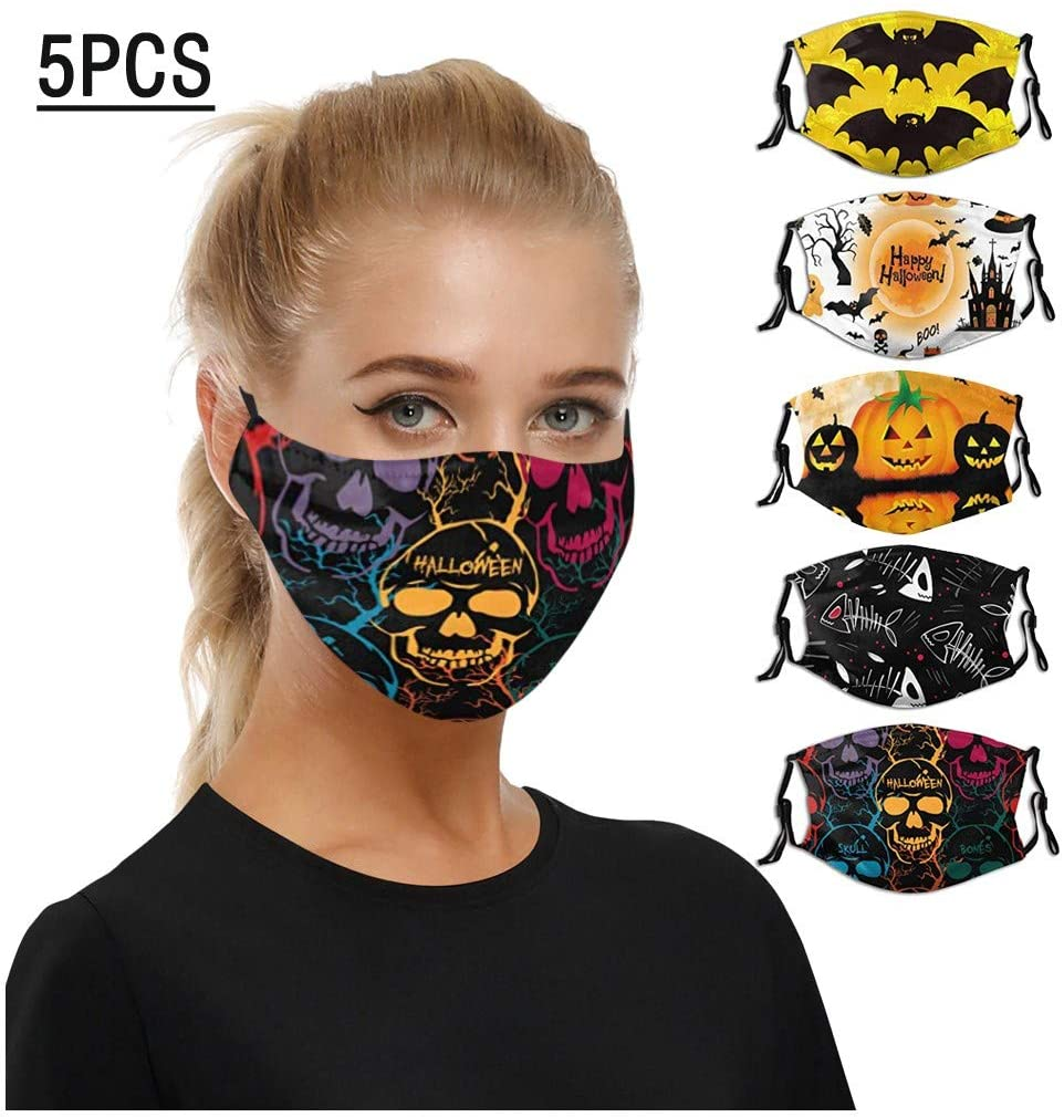 OMGYST 5Pcs Pumpkin Print Cotton Face Màsc Tie-dye for Women Girls Anti-dust Face Bandanas Reusable Face Fabric for Outdoor Activities