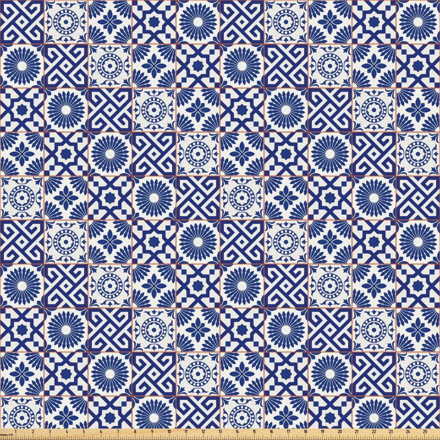 Lunarable Geometric Fabric by The Yard, Azulejo Tile Motifs Portuguese Ceramic Pattern European Art, Microfiber Fabric for Arts and Crafts Textiles & Decor, 3 Yards, Royal Blue Ivory Burnt Sienna