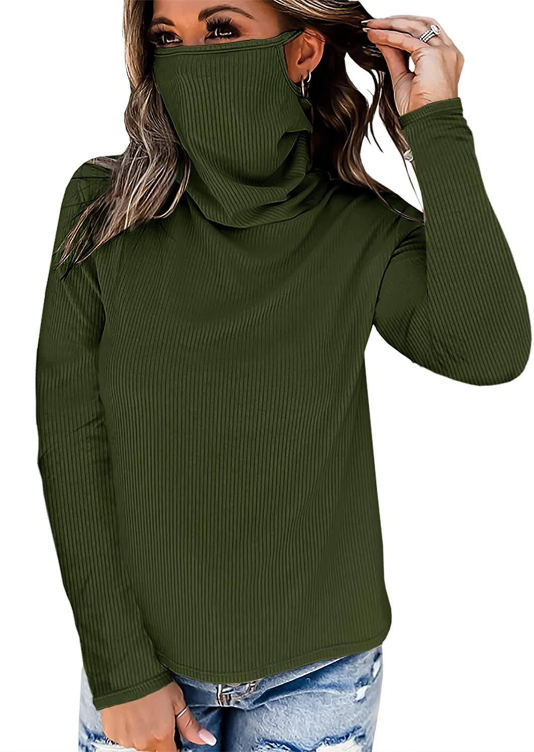 Vermisse Womens Face Mask Long Sleeve Shirt Cowl Neck Ribbed Knit Blouse Top