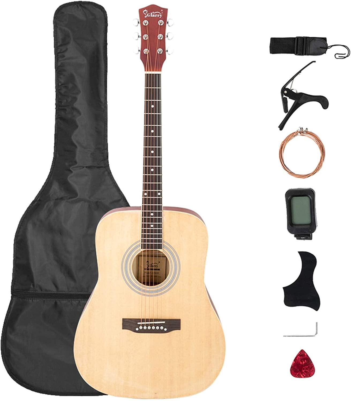 Glarry Gt508 41 Inch Rounded Spruce Panel Matte Edging Folk Guitar Bag Shield Wrench Tuner Capo Shoulder Strap String Paddles Burlywood - Affordable & Professional Student Guitar for Beginner Starter