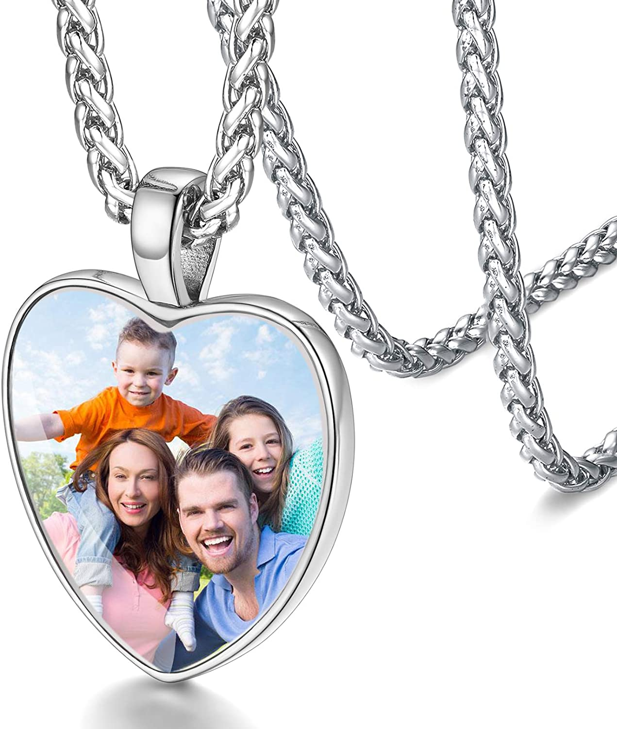 FaithHeart Personalized Photo Necklace Vintage Retro Pendant, Stainless Steel Custom Picture/Image Memorial Jewelry